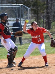 Ketcham's Jessica Roe recovers a bunt from Panas' Bella