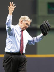 Bud Selig has thrown out the ceremonial first pitch at the Brewers' home opener twice in the past three seasons.