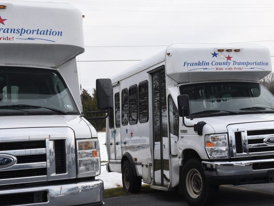 A file photo of Franklin County Transportation buses. The ride-sharing service was taken over by Rabbit Transit in 2016.