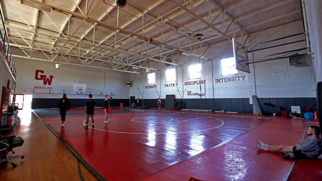 Gardner-Webb students spend time in the wrestling gym on campus on Tuesday.