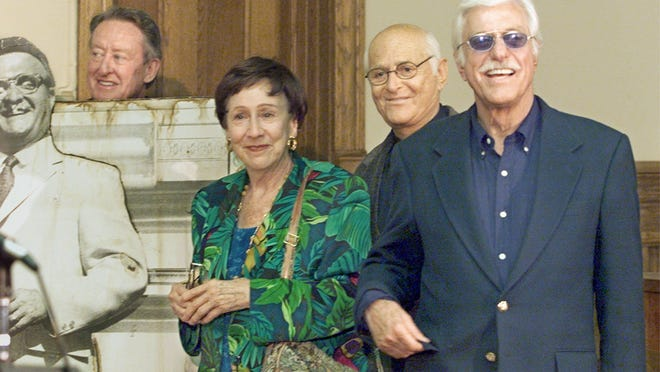 """Left to right: Tom Poston, Jean Stapleton, Norman Lear and Dick Van Dyke all visited Greenfield in 1999 to celebrate the 30th anniversary of the movie """"Cold Turkey."""""""