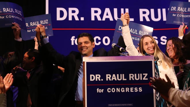 Rep. Raul Ruiz and wife Monica, seen on election night, announced their pregnancy as they addressed supporters. Their twins were born Sunday.