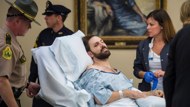 Steven Bourgoin was arraigned in Vermont Superior Court in Burlington on Friday, October 14, 2016, on five counts of second-degree murder stemming from a head-on crash on I-89. Bourgoin was arraigned in a makeshift courtroom at the University of Vermont Medical Center where he is lodged due to injuries suffered in the crash.