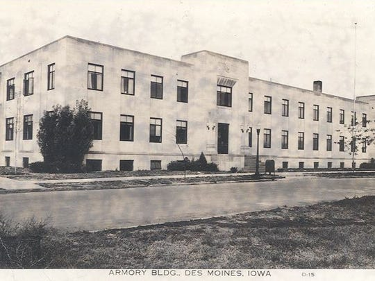 An historic photo of the Argonne Armory Building along the Des Moines riverfront.