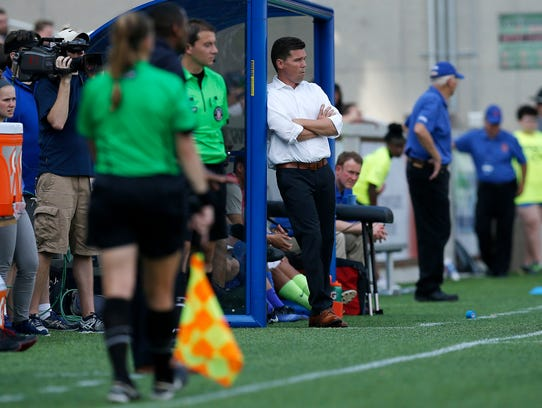 FC Cincinnati head coach Alan Koch watches from the
