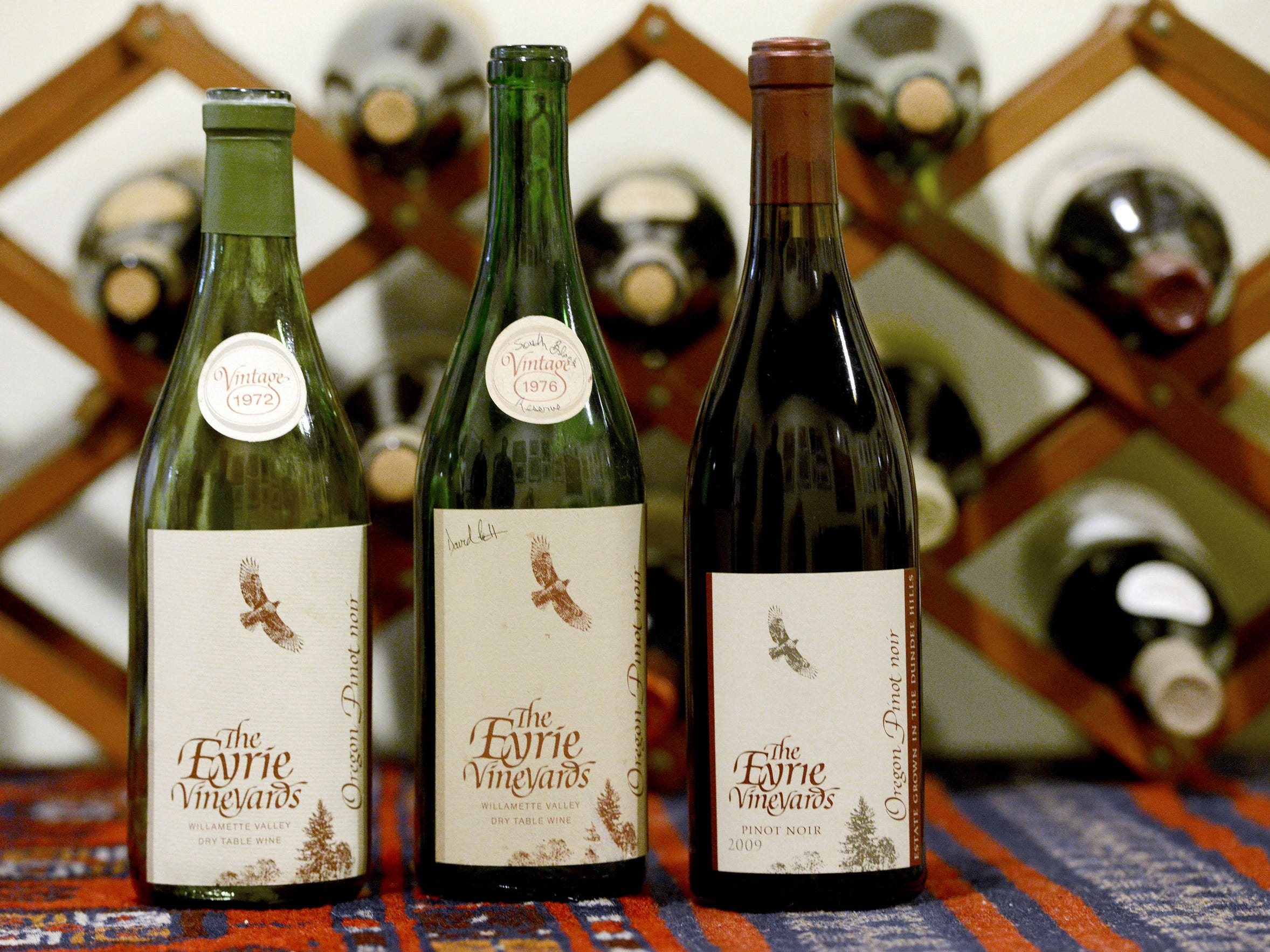 Bottles of pinot noir at The Eyrie Vineyards date back
