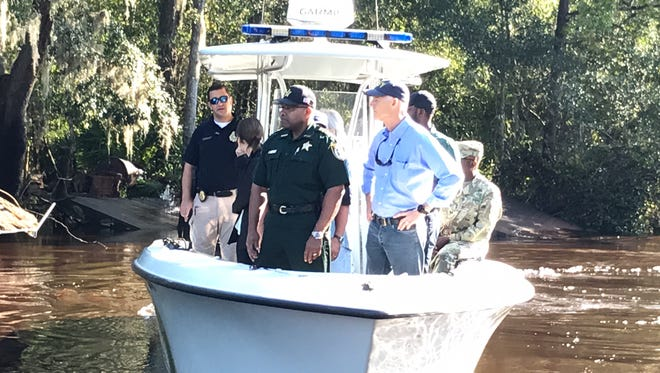 Since Hurricane Irma set its sights on Florida, Gov. Rick Scott has appeared daily in the state newspapers and television newscasts. Here he toured Clay County homes along Black Creek that were damaged by a flash flood caused by Hurricane Irma.