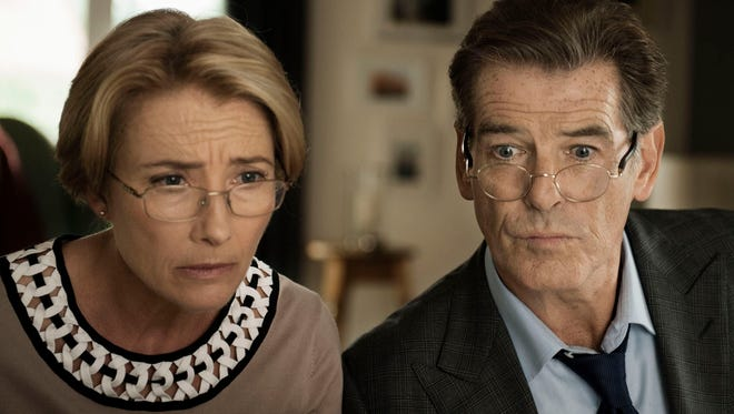 Emma Thompson and Pierce Brosnan in a scene from the film 'The Love Punch.'