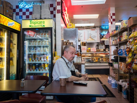 Cosmos Sklifas, owner of Three Star Bagels in Teaneck,