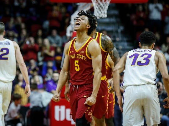 Iowa State freshman Lindell Wigginton reacts after