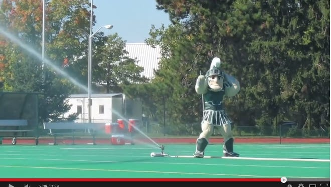 "Screenshot of Sparty in ""Shake it Off"" video."