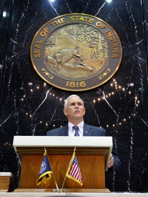 Indiana Gov. Mike Pence delivers his 2016 State of the State address Jan. 12, 2016, in the House chambers of the Indiana Statehouse, Indianapolis.