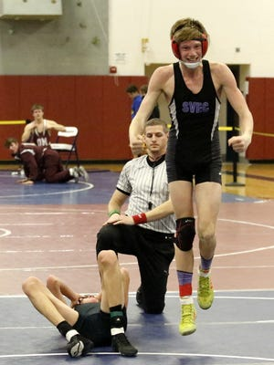 Spencer-Van Etten/Candor's Parker Sexton pinned Whitney Point's Brennan Roe in the 120-pound championship match at the Mike Watson Invitational on Jan. 13 at Watkins Glen High School.