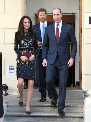 Catherine, Duchess of Cambridge, Prince Harry and Prince William, Duke of Cambridge arrive for a briefing to announce plans for Heads Together at ICA on January 17, 2017 in London, England.