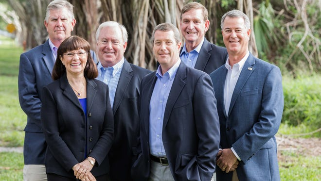 The new Water Pointe Realty Group Leadership Team (from left to right): Mark Eble, Debra Duvall, Stephen Osburn, David Derrenbacker, Chris Clifford and Bill Dean.