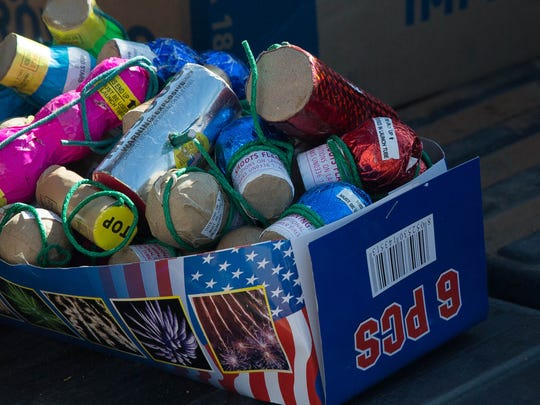 Some of the more than 100 pounds of fireworks the