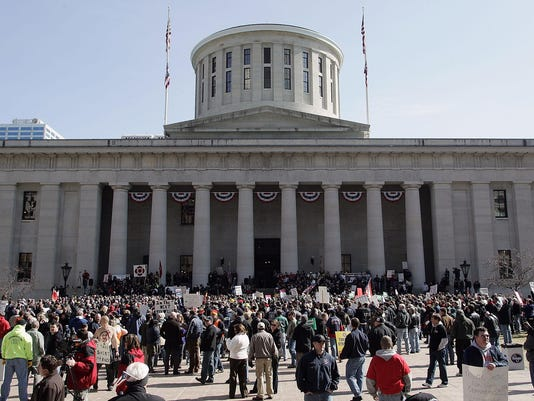 Protestors Rally At Ohio Capitol As Kasich Delivers State Of State Speech