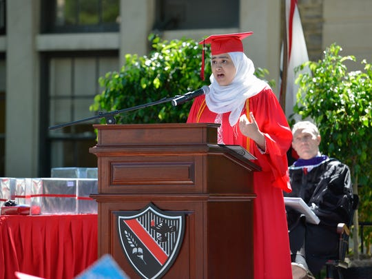 Commencement Speaker Tasneem A.M. Ebrahim speaks to The Hun School's Class of 2016.