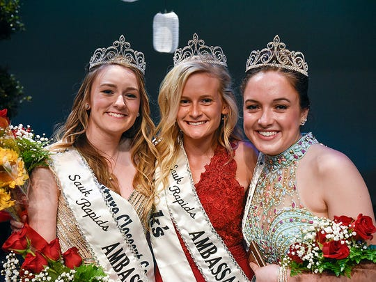 Sydney Burk, left to right, Allyson Walz and Clo Meyer are crowned the Sauk Rapids Community Ambassadors during a coronation ceremony after the competition Thursday, June 23, at the Sauk Rapids-Rice High School.