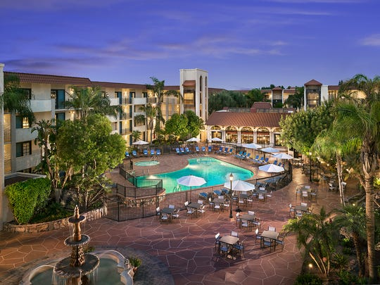 The pool area at the Embassy Suites Scottsdale.