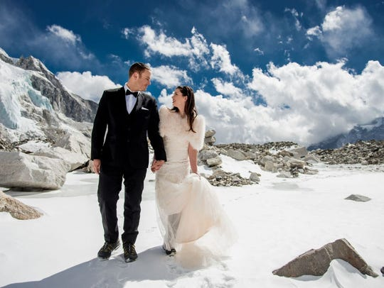 James Sissom and Ashley Schmieder on Mount Everest.