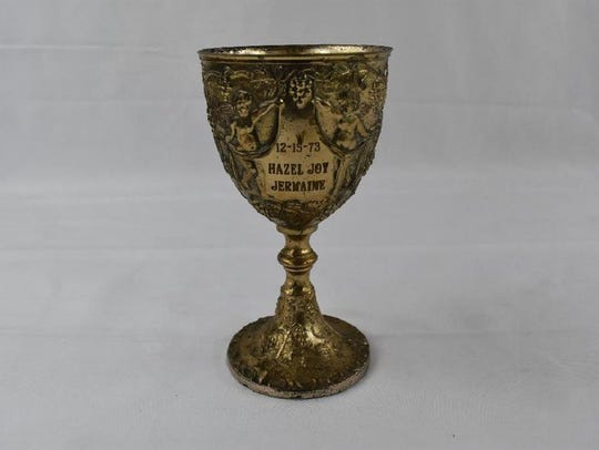 An engraved goblet from the 1973 wedding between Jermaine