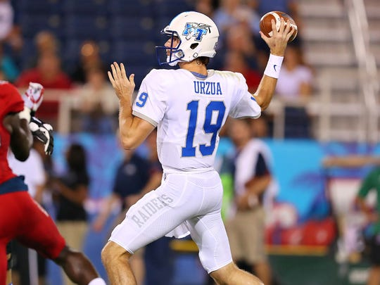 MTSU quarterback John Urzua was 31-of-51 for 359 yards with two touchdowns and three interceptions Saturday against Florida Atlantic.