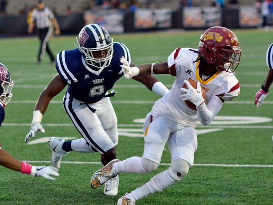 Jackson State linebacker Andre Lloyd tried to catch up to Tuskegee tailback Hoderick Lowe in the 5th Quarter Classic Saturday in Mobile.