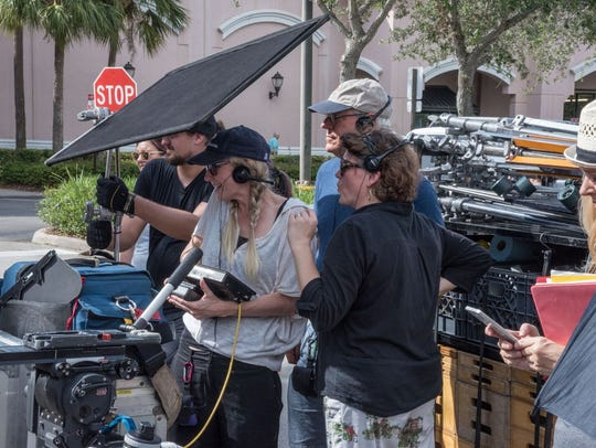Crew members working with SON Studios in Naples shoot