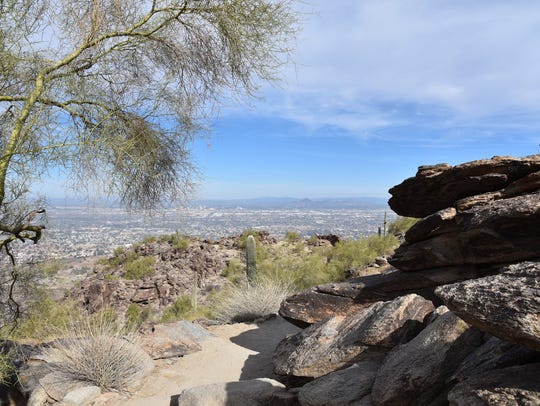 Downtown Phoenix is visible from the Holbert Trail