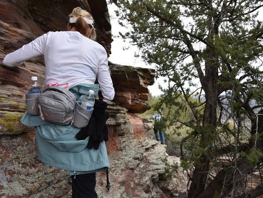 Payson Packers working their way up to the ruins.