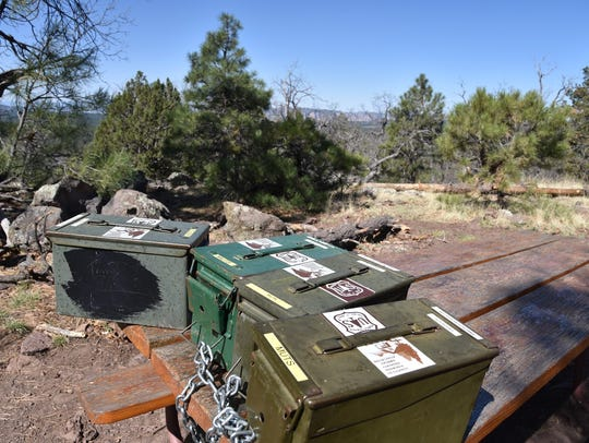 Ammo boxes at the summit of Crystal Point hold trail