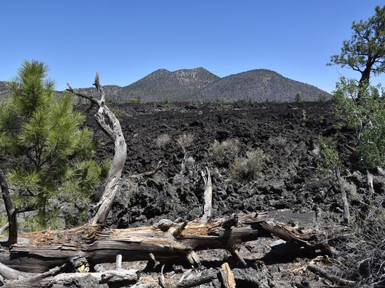 O'Leary Peak lava dome towers over the Bonito Lava Flow.