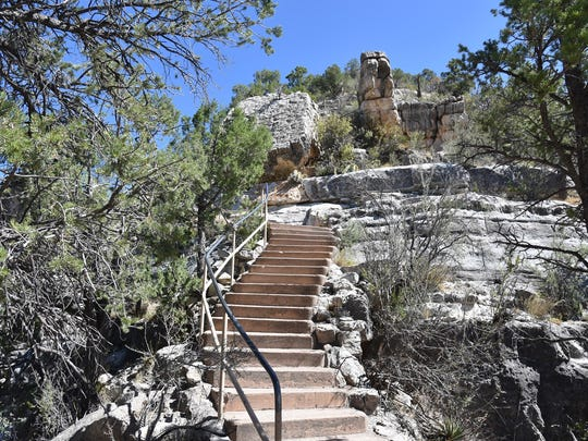 It's 185 feet back up the Island Trail to the visitor center at Walnut Canyon National Monument.
