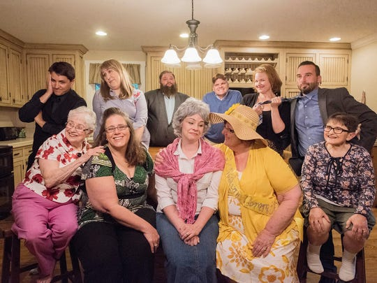 The cast for the Fairview Community Theater's production of Southern Fried - front row (l-r): June Churchman, Michelle Warnecke, Brooklyn Hughes, Linda Wheeler, Carolyn Cavanaugh; back row: Matt Klinedinst, Sarina Jeske, Keith Sullivan, Bill Turner, Lesley Johnson Mathis, Josh Hughes. Not pictured - Adam Garret.