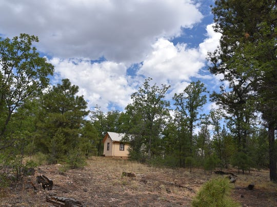 The fire-lookout residence cabin along the Vishnu Trail was built in 1936.