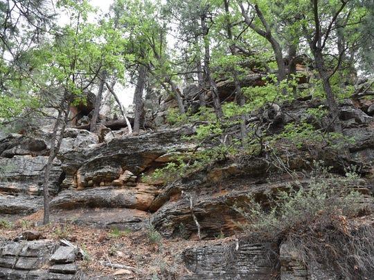 Limestone escarpments flank the final slog to the top