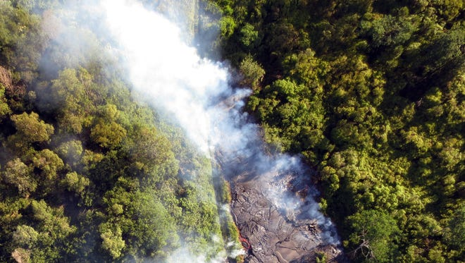 A photo provided by the University of Hawaii at Hilo shows an aerial view of the lava flow near the town of Pahoa on the Big Island of Hawaii.