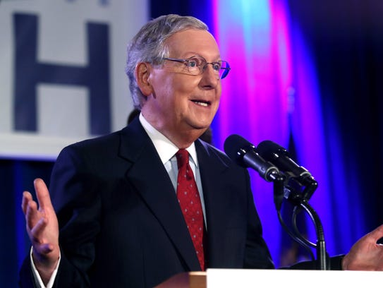 U.S. Sen. Mitch McConnell, R-Ky., addresses supporters
