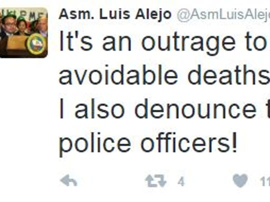 Assemblyman Luis Alejo denounces shootings via Facebook and Twitter