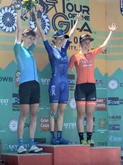 Katherine Hall, middle, won the first stage of the
