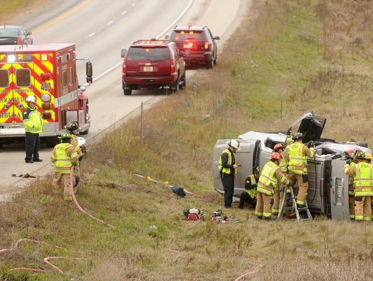 Highway 41 north of Johnson rollover