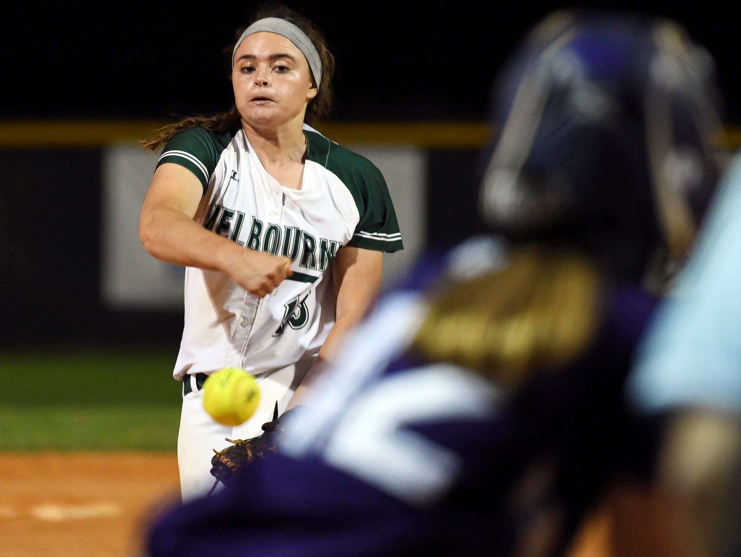 Melbourne's Gabby Lopresti pitches during Tuesday's game against Space Coast.