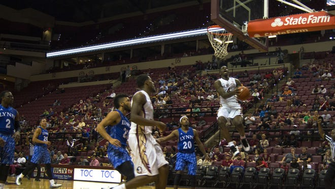 Dwayne Bacon skies for two points against Lynn University. Bacon finished with 16 points in his Seminole debut.