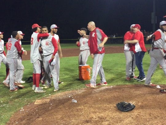 Perth Amboy celebrates GMC baseball tournament semifinal win