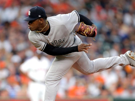 New York Yankees starting pitcher Luis Severino (40) delivers a pitch against the Houston Astros during the second inning at Minute Maid Park.