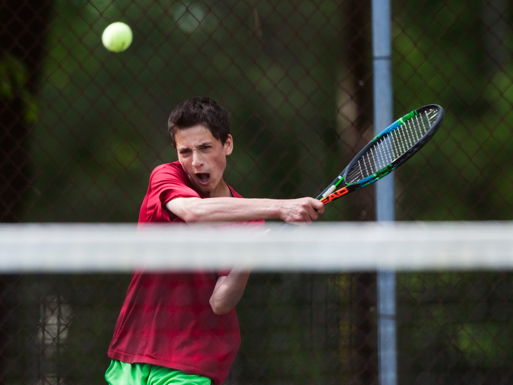 South Burlington sophomore Gabe Katz hits the ball during the Vermont high school boys tennis individual championships at Leddy Park on Saturday, May 23.