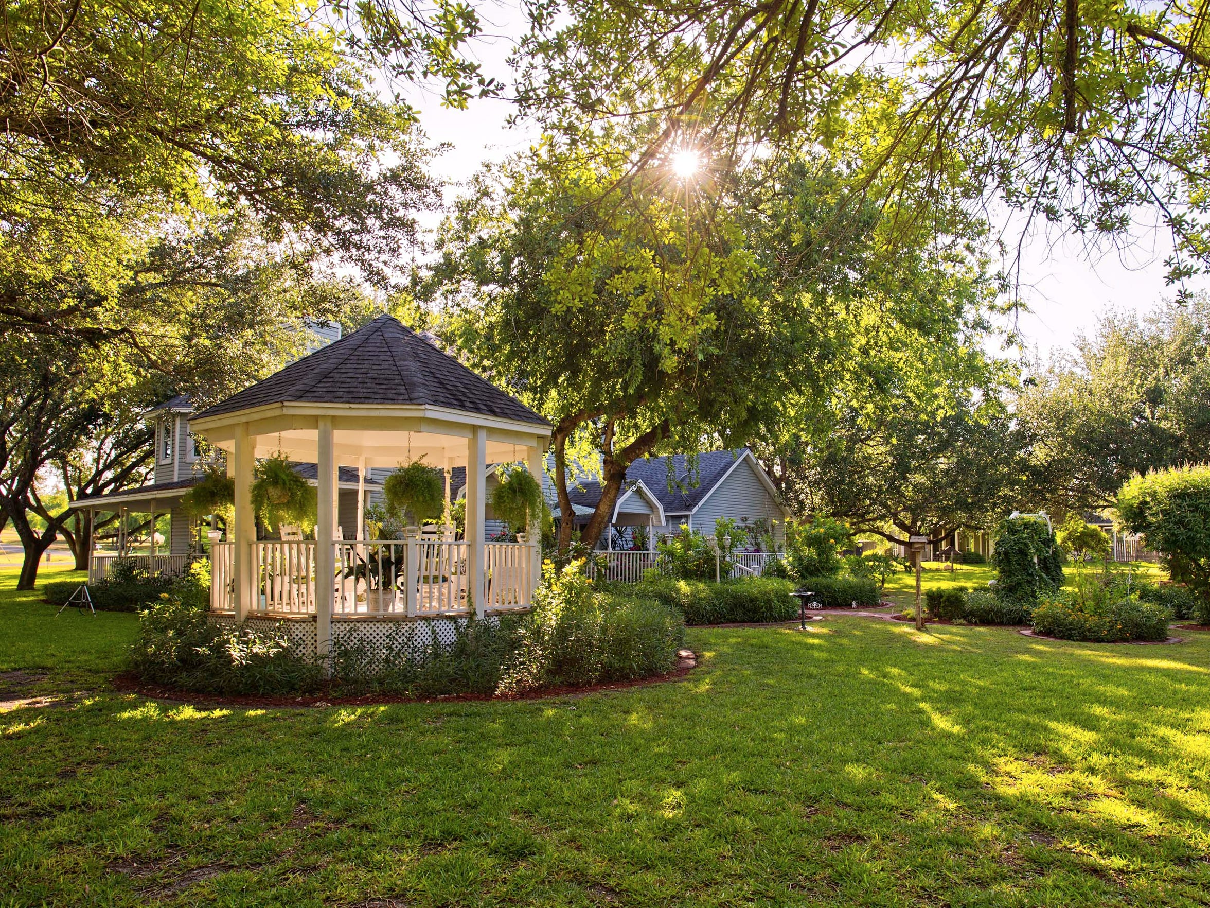 The setting sun illuminates the gazebo on the 2.5 oak tree covered acres in the backyard of this amazing home