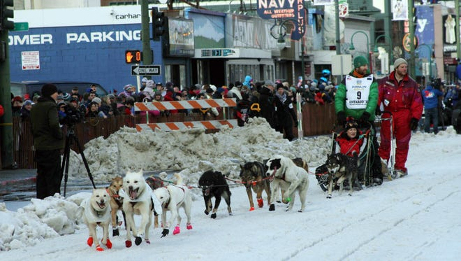Musher Kelly Maixner, of Big Lake, Alaska, and an auction winner who rode in his sled, drive down Fourth Avenue during the ceremonial start of the Iditarod Trail Sled Dog Race in Anchorage, Alaska, on Saturday, March 7, 2015. The competitive start will be held March 9, 2015, in Fairbanks, Alaska.  (AP Photo/Mark Thiessen)
