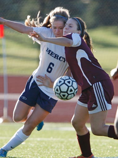 Mercy and Aquinas battled to a 1-1 girls soccer tie Tuesday.